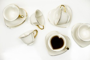 inside out hearts tea set tea cups and saucer white cream with gold rims